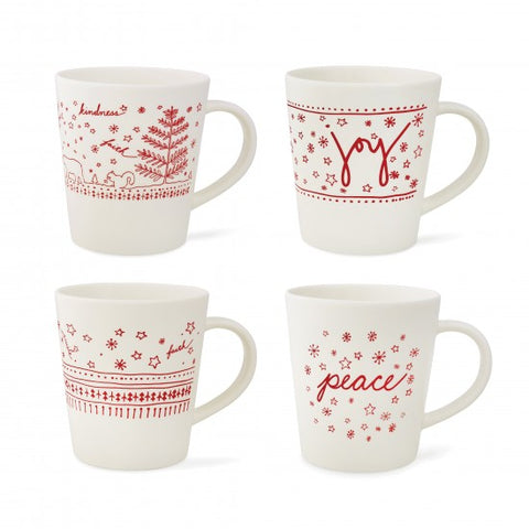 Ellen DeGeneres Holiday Accent Mugs - Set of 4