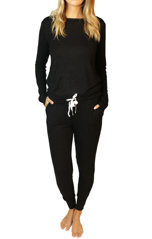 Wildest Dreams Slouchy PJ Set - Black