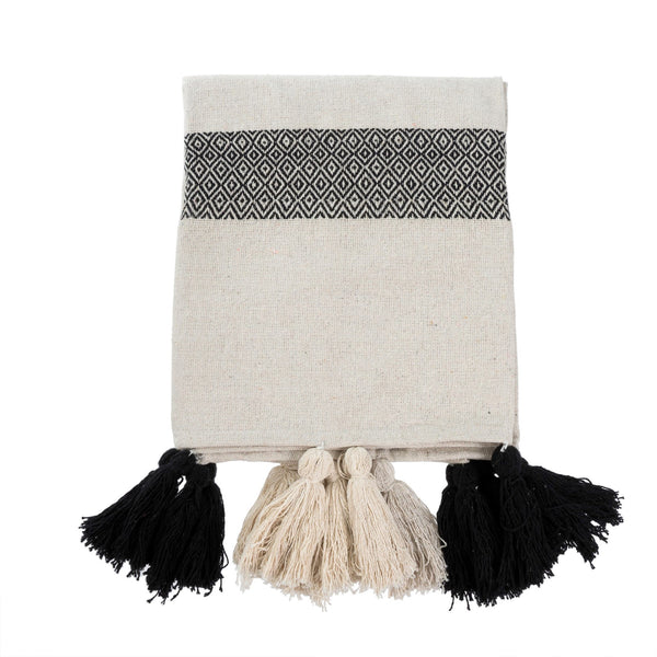 Le Souk Tassel Throw - Black