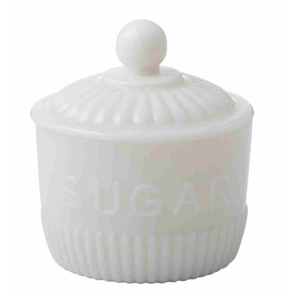 Heritage Milk Glass Sugar Bowl with Lid