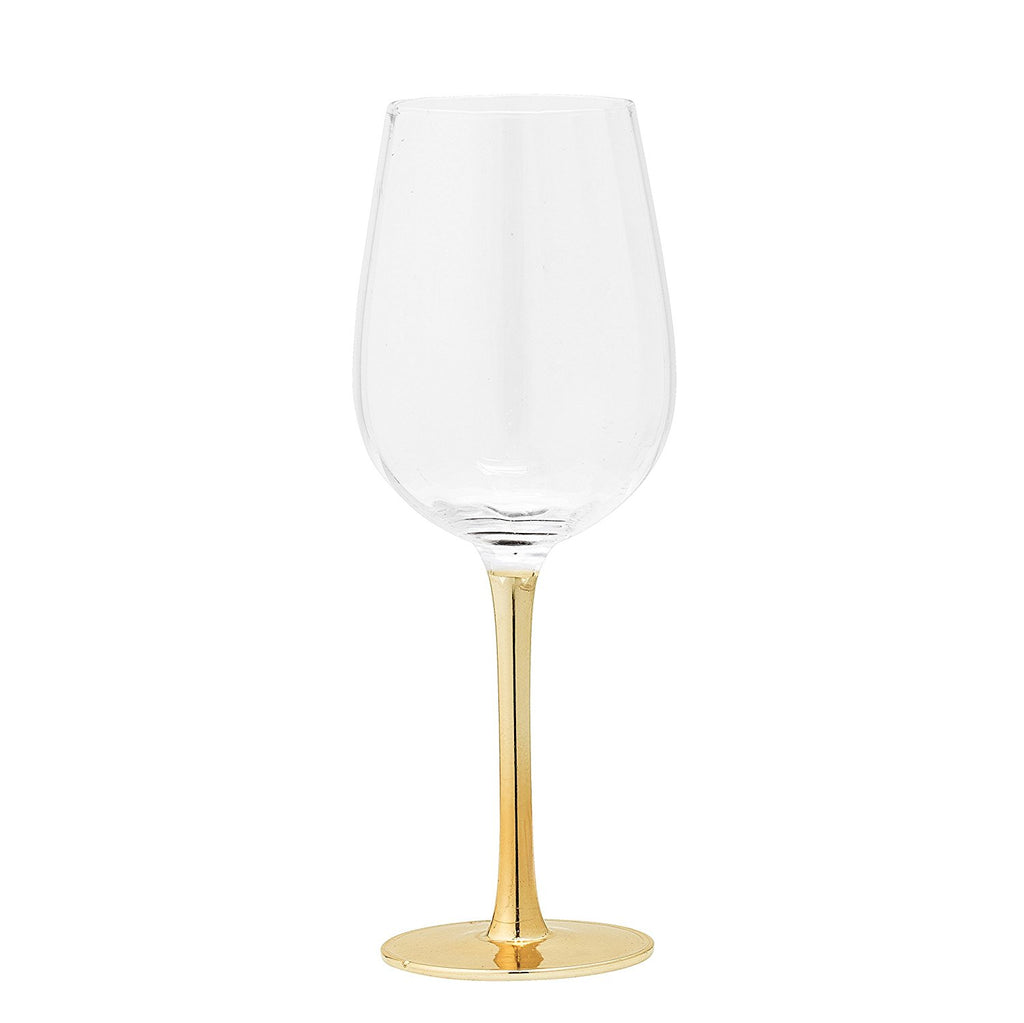 Wine Glass with Gold Electroplated Stem