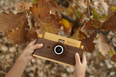 Father's factory classic one wooden digital camera in play for nature study. it's a perfect nature inspired gift for children, the nature study edition