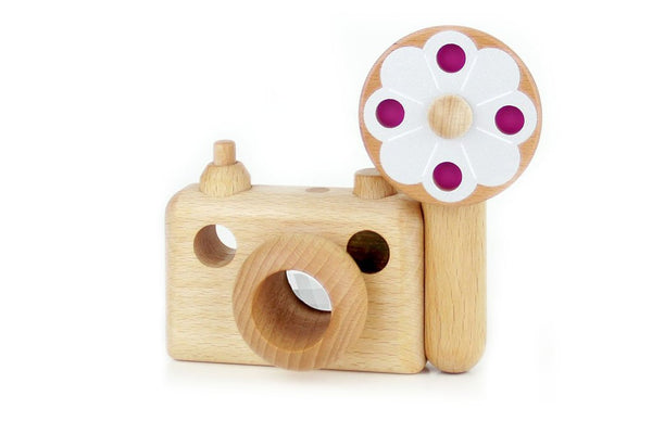 Father's Factory wooden toy camera, 35MM wooden toy camera has kaleidoscopic lens. It's perfect of pretend play, open ended play, sensory play, and homeschooling, Montessori and Waldorf toy. Our wooden toy is made of walnut and beechwood with heirloom quality. It's a non toxic, natural, and environmental friendly toy. The 35MM Big Flash has detachable spinning flash, clickable shutter, turnable lens, and kaleidoscopic viewfinder. It'll be your kid's most favorable toy to bring anywhere.