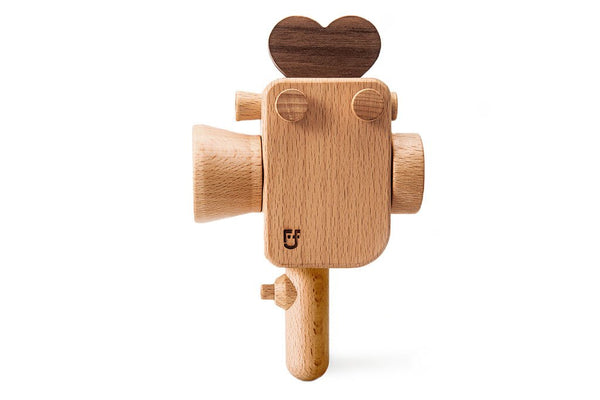 Father's Factory wooden toy camera, Super8 wooden toy camera has kaleidoscopic lens. It's perfect of pretend play, open ended play, sensory play, and homeschooling. Montessori and Waldorf toy. It's made of walnut and beechwood with heirloom quality. It's a non toxic, natural, and environmental friendly toy. No Battery-Operated or Plastic Toys. Tested To Meet All Safety Standards. Perfect interior decor for kid's room.