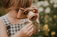 Father's Factory wooden toy camera, 35MM vintage wooden toy camera with detachable magnetic flash, clickable button and kaleidoscopic lens. It's perfect of pretend play, sensory play, and homeschooling. It's made of walnut and beechwood with heirloom quality