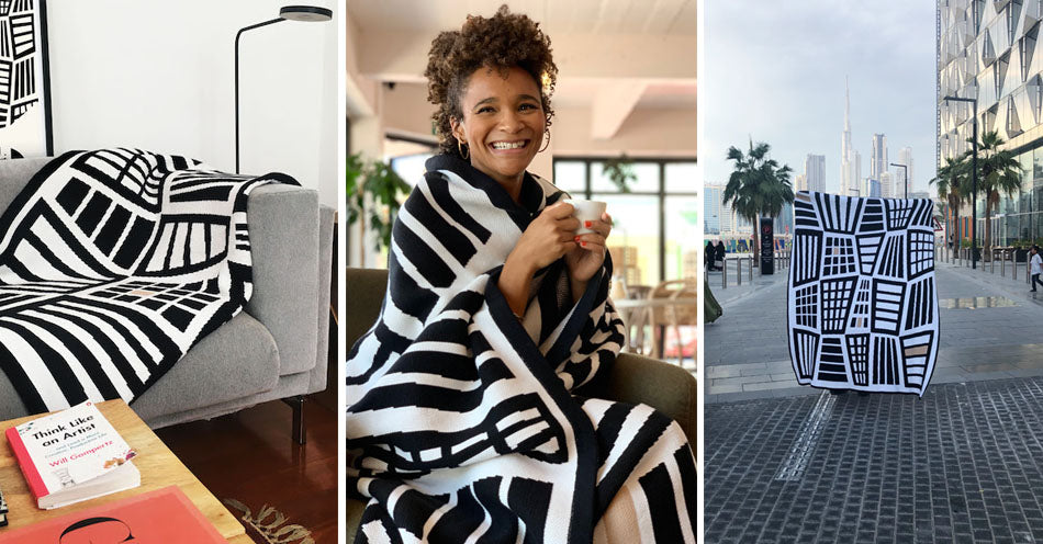 Three images of Something Good Studio blankets and throws. One styled in a living room, one being worn by a model, the other being held up in a city. Something Good home décor products are available at Sarza home goods and furniture store in Rye New York
