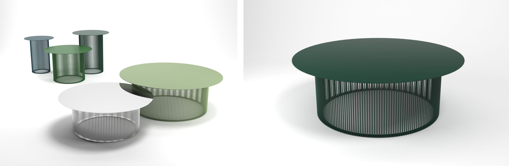 Haldane Martin, Cha Cha outdoor furniture collection, green outdoor tables and chairs.  Haldane Martin outdoor furniture is available at Sarza home goods and furniture store in Rye New York.