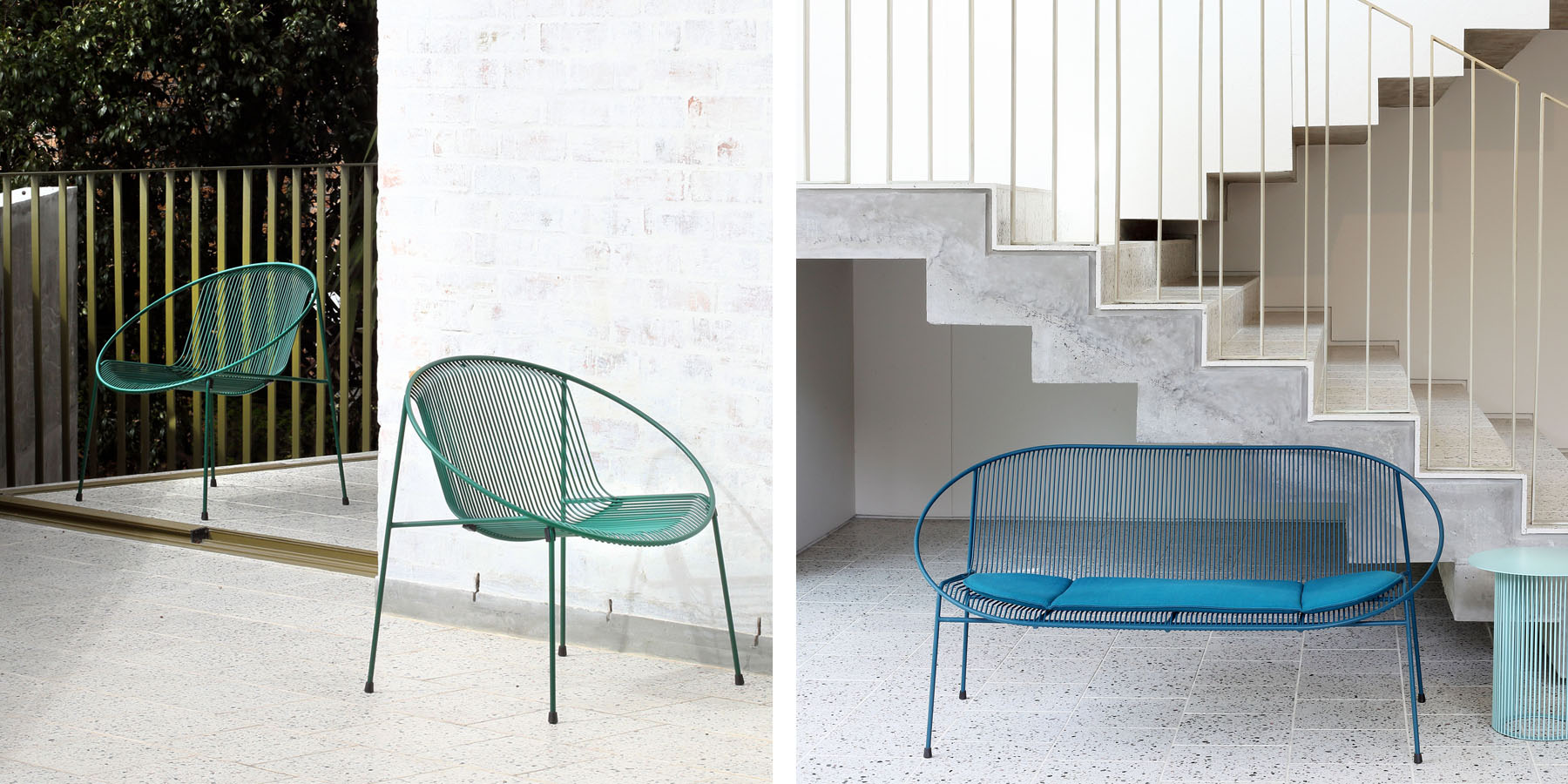 Haldane Martin, Hula outdoor furniture collection, green and blue outdoor tables and chairs.  Haldane Martin outdoor furniture is available at Sarza home goods and furniture store in Rye New York.