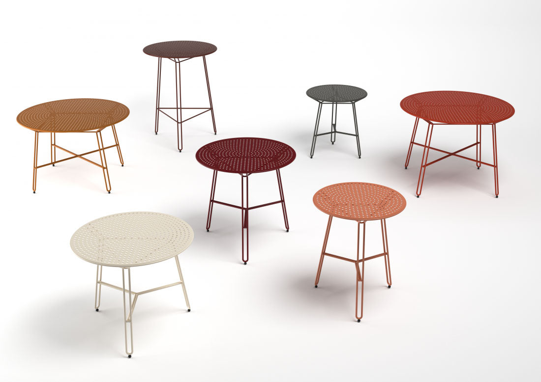 Haldane Martin, Polka Collection outdoor furniture tables in multi-colors.  Haldane Martin outdoor furniture is available at Sarza home goods and furniture store in Rye New York.