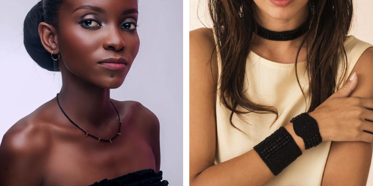 Left image: Model wearing Sidai Designs jewelry, hand beaded modern black and gold necklace. Right image: Model wearing Sidai Jewelry, hand beaded modern black beaded leather bracelet and cuff.
