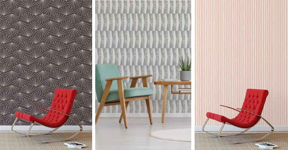 A trio of Skinny laMinx wallpapers by Robin Sprong. Available at Sarza home goods and furniture store in Rye New York.