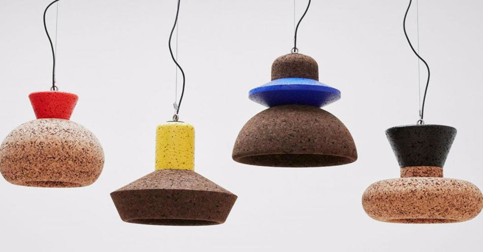 Wiid Design cork lighting pendants, available at Sarza home goods and furniture store in Rye New York.