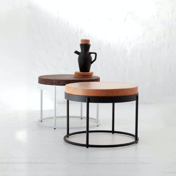 Image of Wiid Design cork tables and bar stools. Wiid Design furniture and home décor pieces are available at Sarza home goods and furniture store in Rye New York.