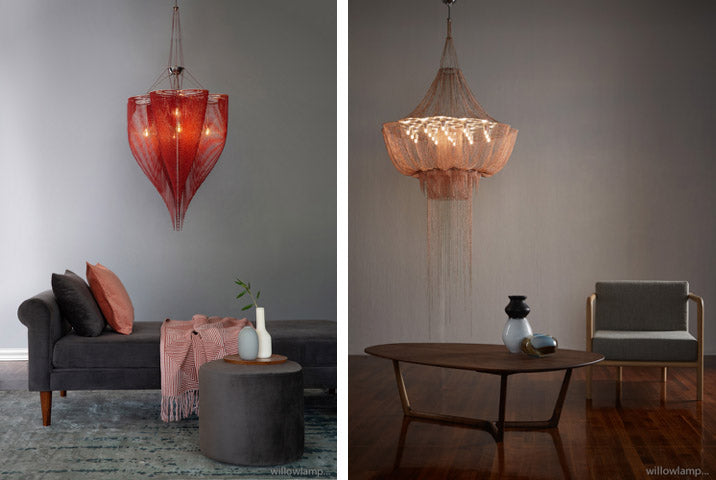 Red Willowlamp lighting chandelier styled in a residential space. Rose Willowlamp lighting chandelier styled in a residential space. The company creates bespoke chandeliers, pendants and lights. Available at Sarza home goods and furniture store in Rye New York.
