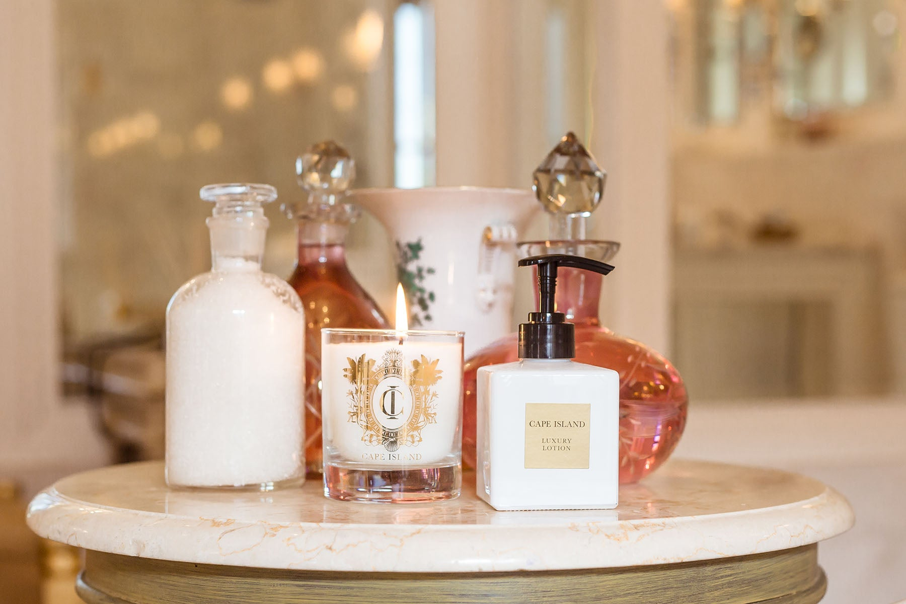 The Cape Island Summer Vineyard candle and loction Cape Island luxury candles, soap products and home fragrances are available at Sarza home goods and furniture store in Rye New York.