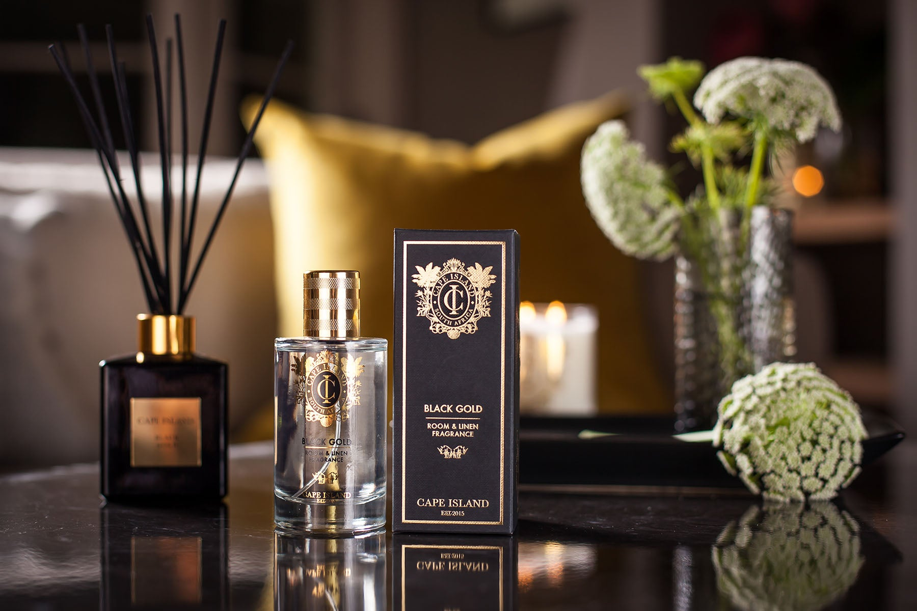 The Cape Island Black Gold candle and fragrance diffuser. Cape Island luxury candles, soap products and home fragrances are available at Sarza home goods and furniture store in Rye New York.