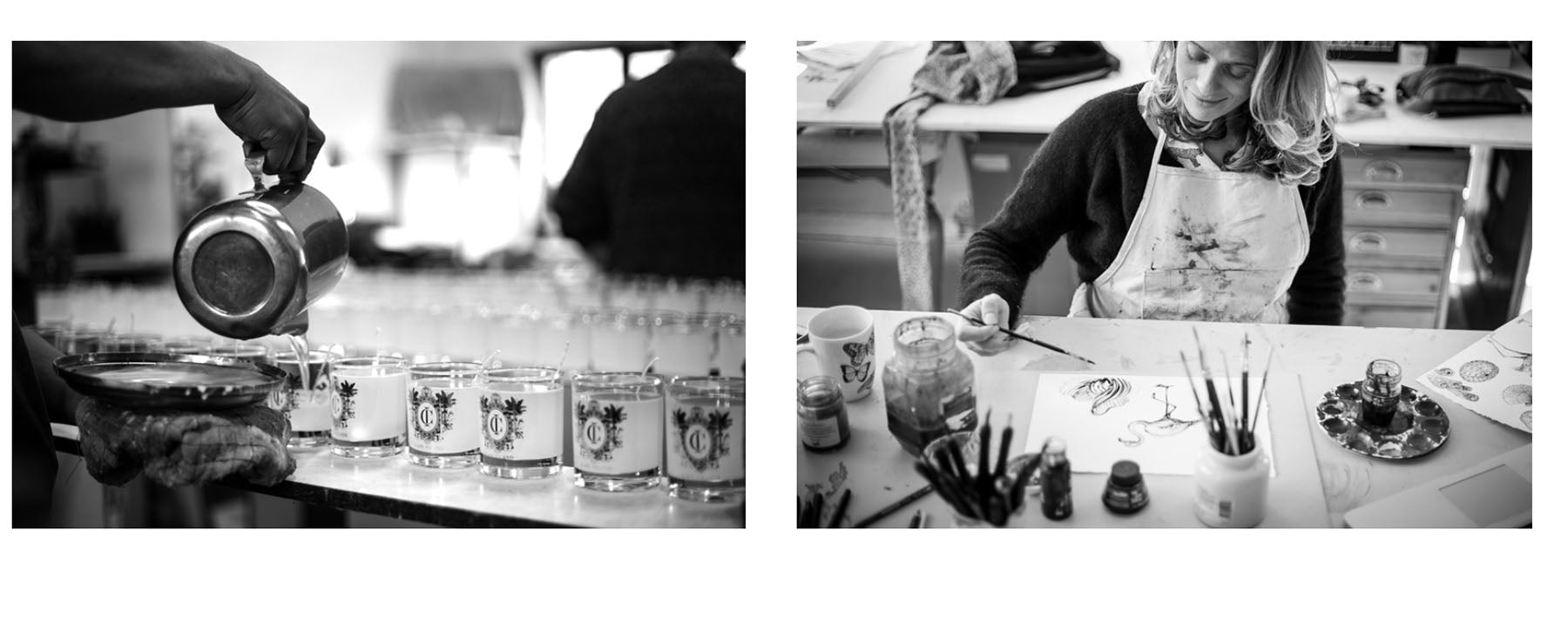 The Cape Island team creating their products. Cape Island luxury candles, soap products and home fragrances are available at Sarza home goods and furniture store in Rye New York