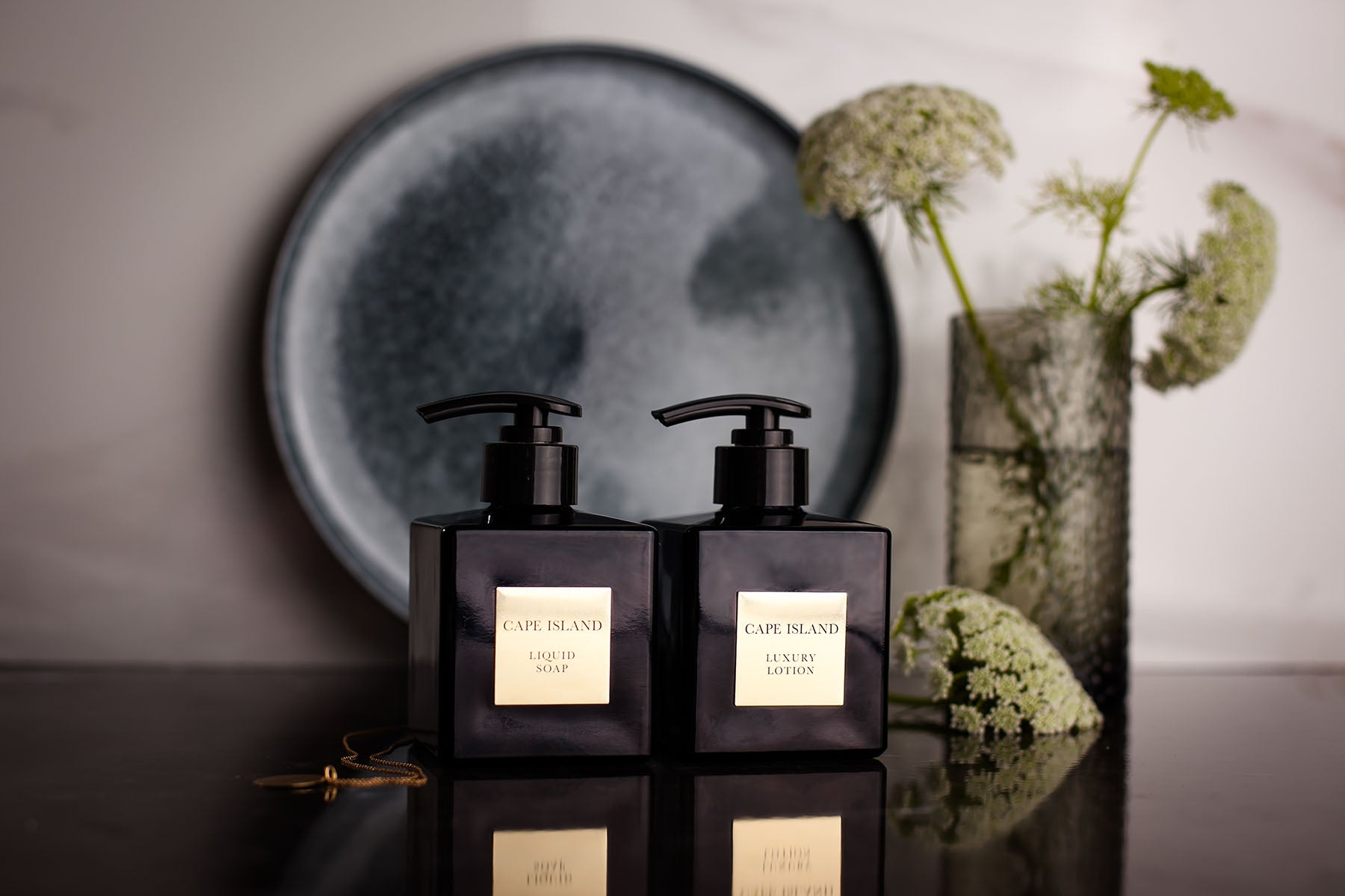 The Cape Island Black Gold fragrance diffuser. Cape Island luxury candles, soap products and home fragrances are available at Sarza home goods and furniture store in Rye New York.