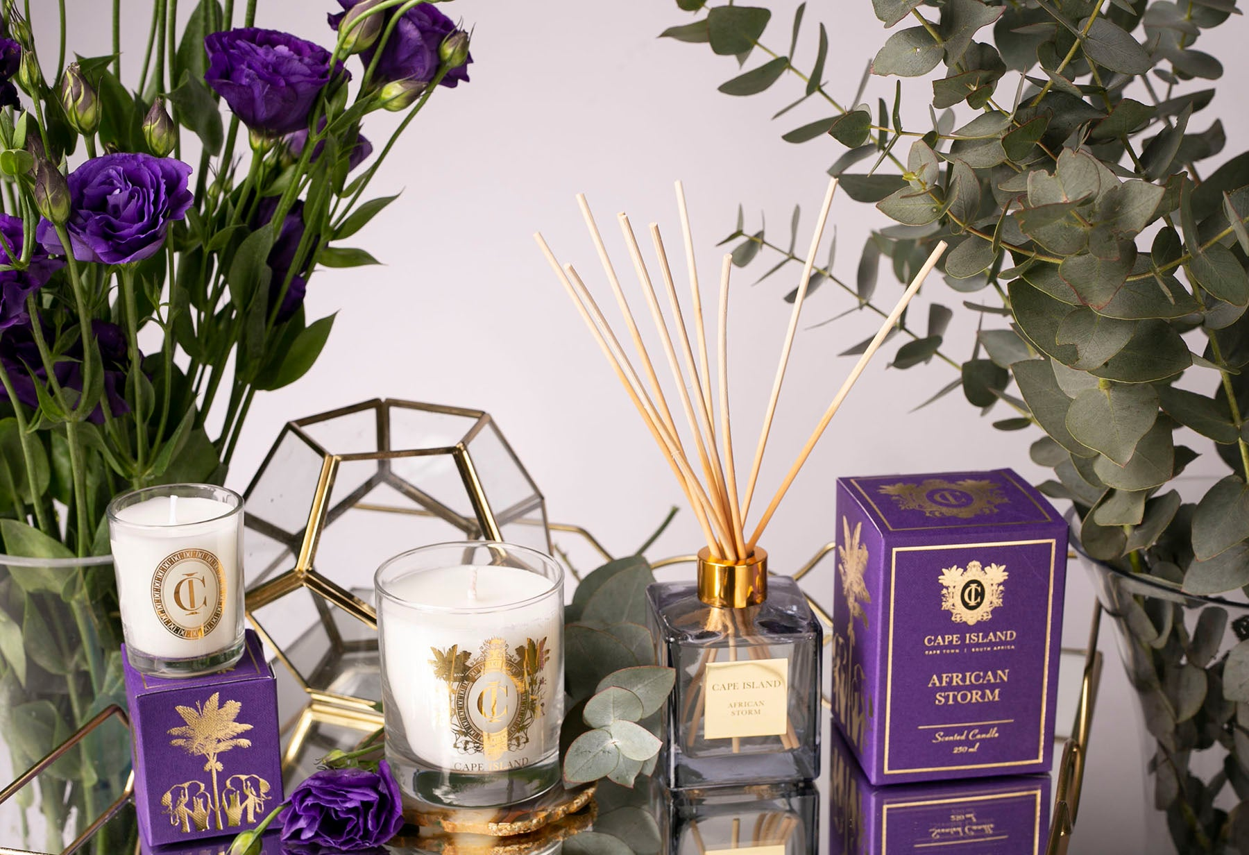 The Cape Island African Storm fragrance diffuser and candle. Cape Island luxury candles, soap products and home fragrances are available at Sarza home goods and furniture store in Rye New York.