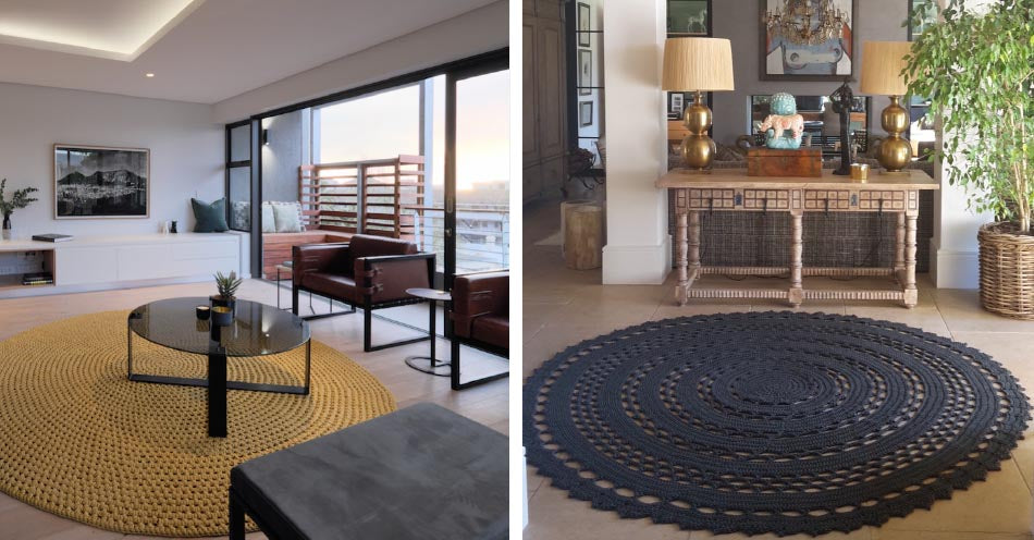 Fibre Designs creates outdoor furniture & rugs using traditional crochet and weave techniques. The company works with talented weavers through a female empowerment project in South Africa. A yellow indoor-outdoor rug is shown. The patio furniture is available at Sarza furniture & home décor store in Rye.