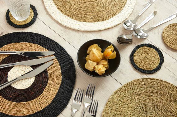 Image of a table setting of Gone Rural placemats and coasters