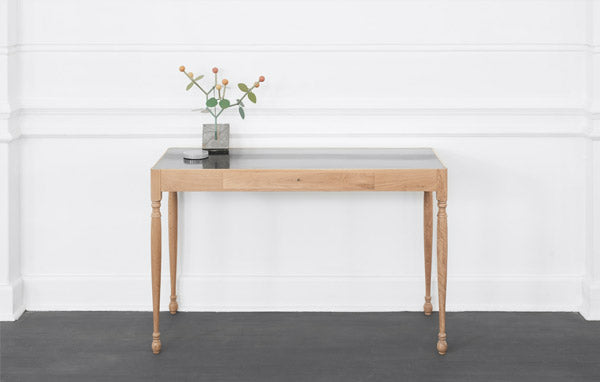 James Mudge desk. The solid wood furniture is available at Sarza home goods, furniture & décor store in Rye