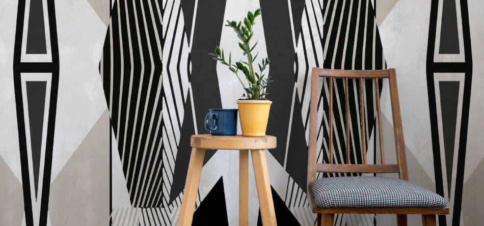 Robin Sprong geometric wallpaper by Glorinah Khutso Mabaso. Robin Sprong wallpaper is available at Sarza home goods, furniture & décor store in Rye, New York.