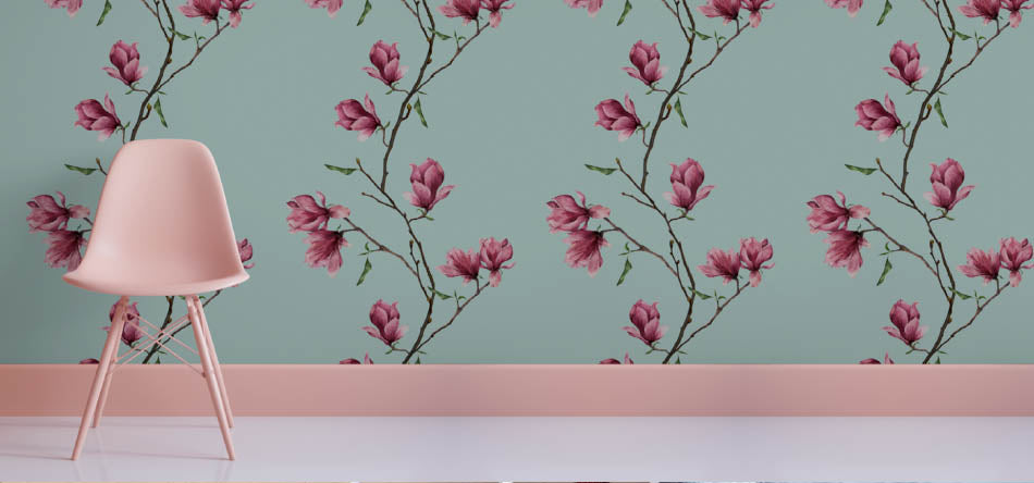 Robin Sprong floral wallpaper by Love Milo. Robin Sprong wallpaper is available at Sarza home goods, furniture & décor store in Rye, New York.