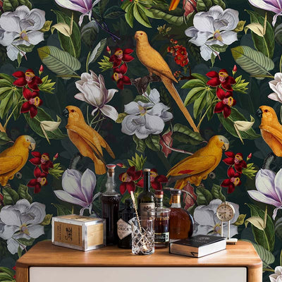 Yellow Parrots In Tropical Flower Magnolia Jungle – on petrol