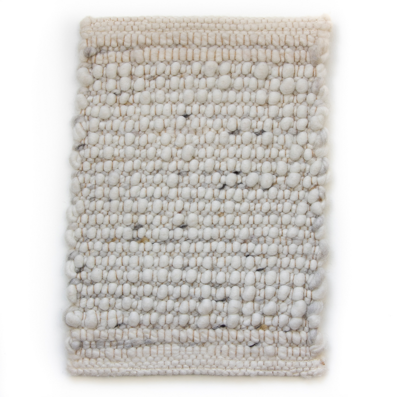 WOOLEN RUG - NATURAL WHITE WITH SALT & PEPPER SHADOW LINE by Woolen Rugs at SARZA. decor, homeware, rugs, WOOLEN RUGS