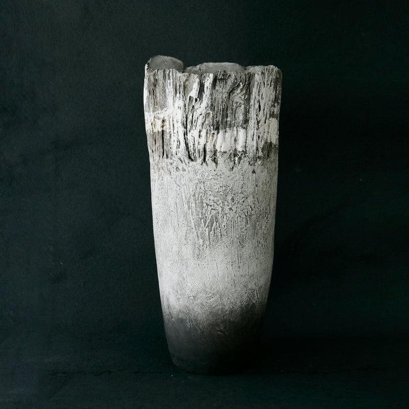 TALL VESSEL SMOKE WHITE WITH KAROO SHALE IMPRESSION by Helen Vaughan Ceramics at SARZA. Ceramics, decor, decorative, Helen Vaughan, Homeware, Vases, Vessels