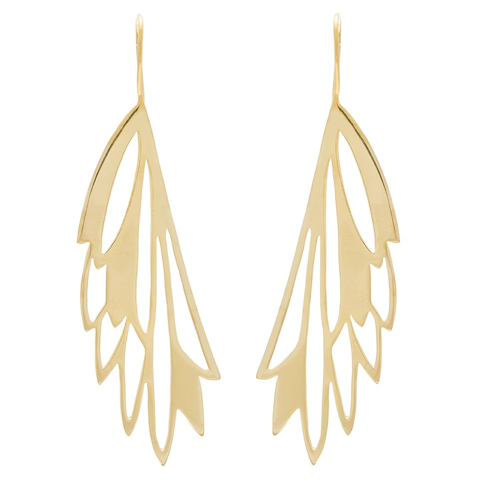 FRAGMA EARRINGS - JEWELRY BY KIRSTEN GOSS. Open organic drop earrings on hanging hooks in 18kt yellow gold vermeil.