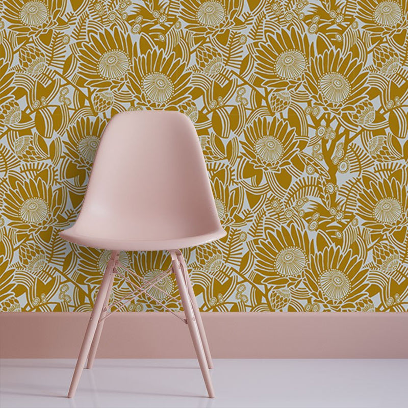 After The Fire Mustard by Robin Sprong at SARZA. Fabricnation, Floral, Robin Sprong, Wallpaper