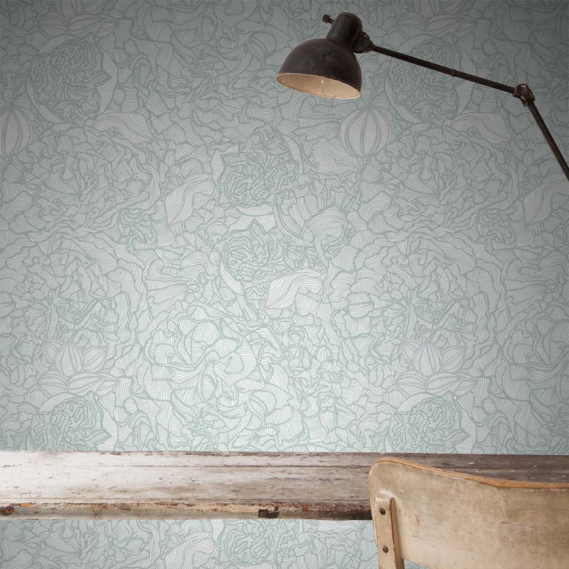 Alcea – Oro by Robin Sprong at SARZA. Floral, Patricia Braune, Patricia Braune - Amalfi Lines Collection, Robin Sprong, Wallpaper