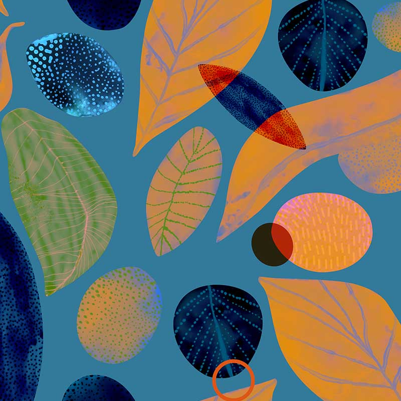 Spring Leaf – Ocean by Robin Sprong at SARZA. Abstract, Alexander Adiels, botanical, floral, Robin Sprong, Wallpaper