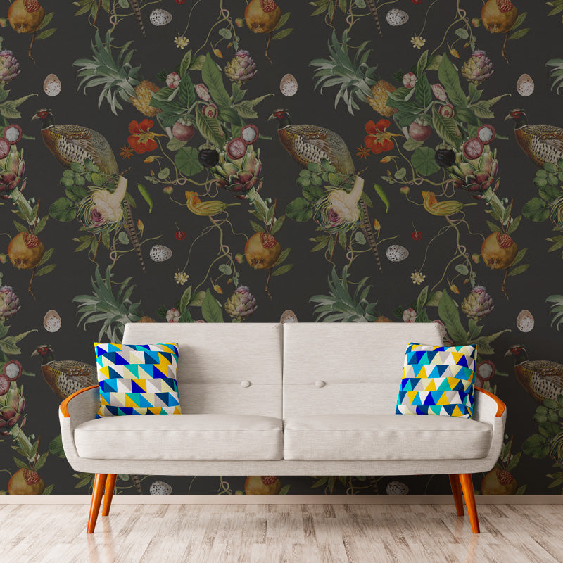 Ambrosia Charcoal by Robin Sprong at SARZA. Botanical, Floral, Robin Sprong, Room 13, Room 13 Collection, Tropical, Wallpaper