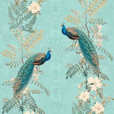 Chinoiserie Peacock Flowers – Teal