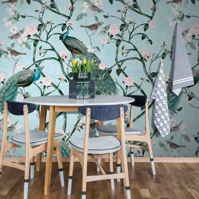 Chinoiserie Peacocks – Diamond by Robin Sprong at SARZA. Andrea Haase, Botanical, Floral, Robin Sprong, Wallpaper, Wildlife