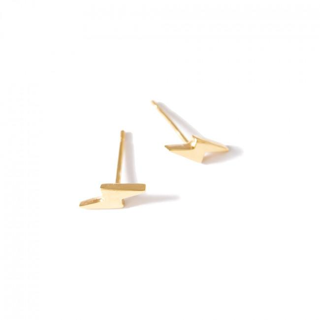 MINI BOLT EARRINGS - JEWELRY BY KIRSTEN GOSS. Sweet and cheeky miniature lightning bolt stud earrings which can be mixed and matched. Hand-crafted in 18k gold vermeil.