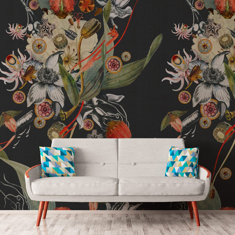 Botanical Steel by Robin Sprong at SARZA. Botanical, Floral, Robin Sprong, Room 13, Room 13 Collection, Wallpaper