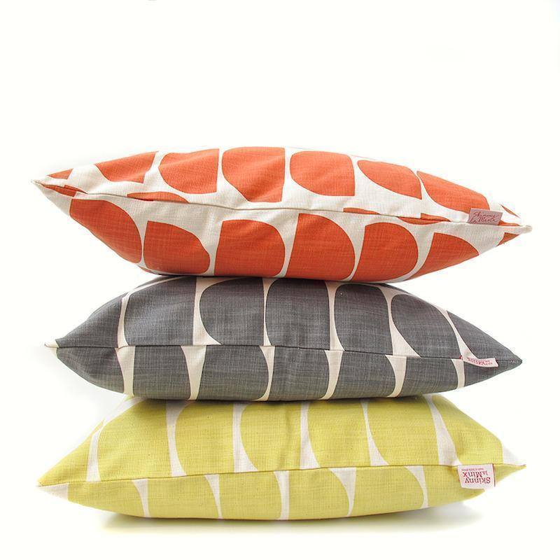 BOWLS THROW PILLOW by SKINNY LAMINX. These colourful and contemporary Throw Pillow covers are screenprinted front and back on a 100% Cotton basecloth. They have a Skinny Laminx tag stitched in on the side.