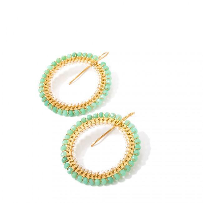 CAMEO EARRINGS - JEWELRY BY KIRSTEN GOSS. Circular double weave with silver extruded by hand, chrysoprase & lemon citrine. Beautiful handmade earrings in 18k gold vermeil.