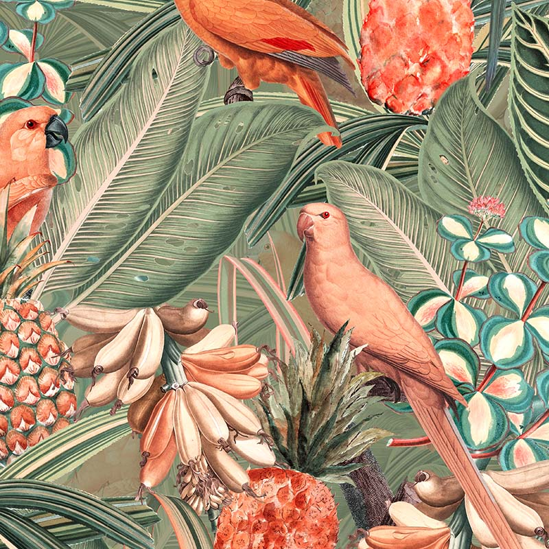 Colorful Birds in Jungle with Bananas – Peach and Green