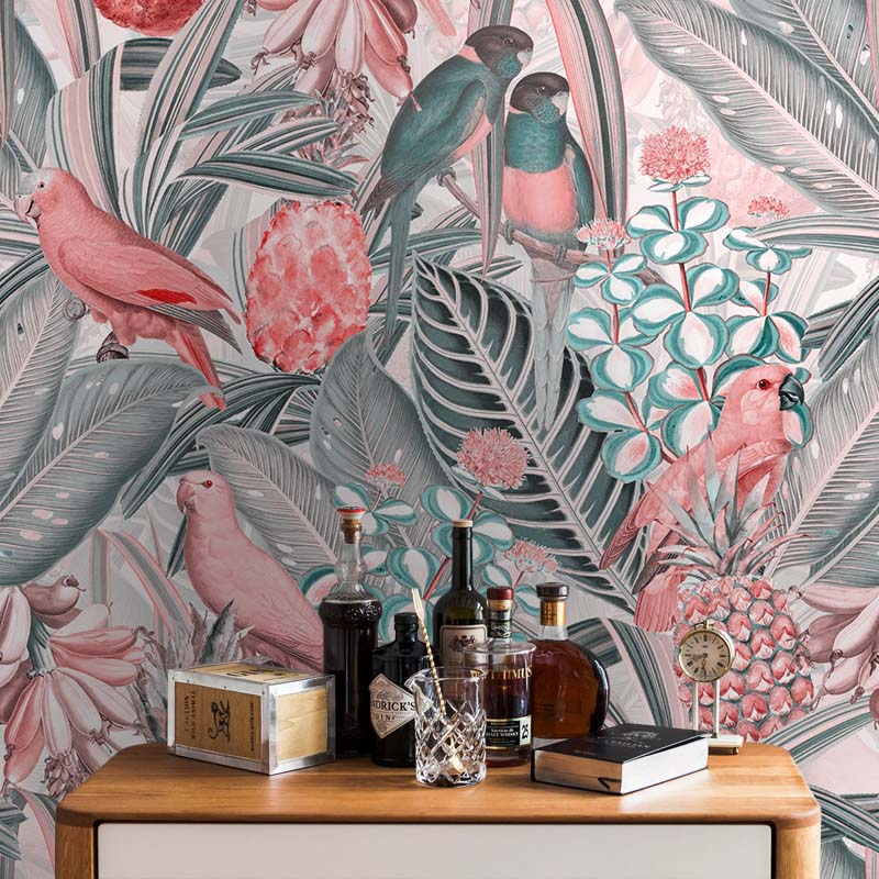Colorful Birds in Jungle with Bananas – Pink Grey by Robin Sprong at SARZA. Botanical, Floral, Robin Sprong, Tropical, Uta Naumann, Wallpaper, Wildlife