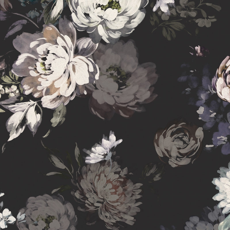Dark Floral Charcoal