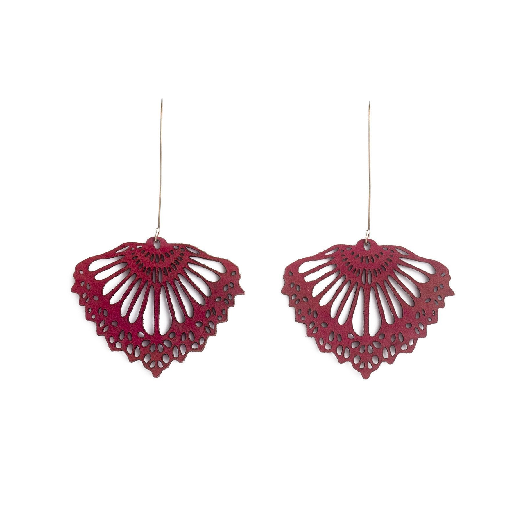 FAN LEATHER EARRINGS DEEP RED BY WHITE RABBIT DAYS JEWELRY. Laser cut from leather & hung on elegant sterling silver hooks. Subtly coloured, they transition effortlessly between day & night.