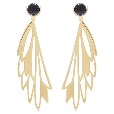KLIK EARRINGS - JEWELRY BY KIRSTEN GOSS. Striking, handcut earrings with a moonstone/lapis semi precious stone stud. Beautiful handmade earrings in 18kt gold vermeil.