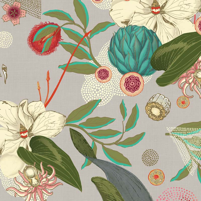 Eden Beige by Robin Sprong at SARZA. Botanical, Floral, Robin Sprong, Room 13, Room 13 Collection, Wallpaper
