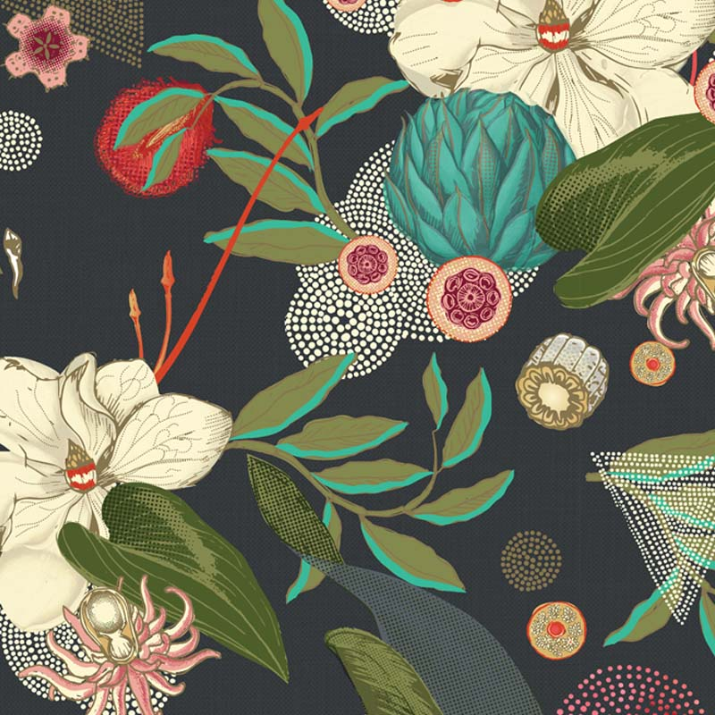 Eden Navy by Robin Sprong at SARZA. Botanical, Floral, Robin Sprong, Room 13, Room 13 Collection, Wallpaper