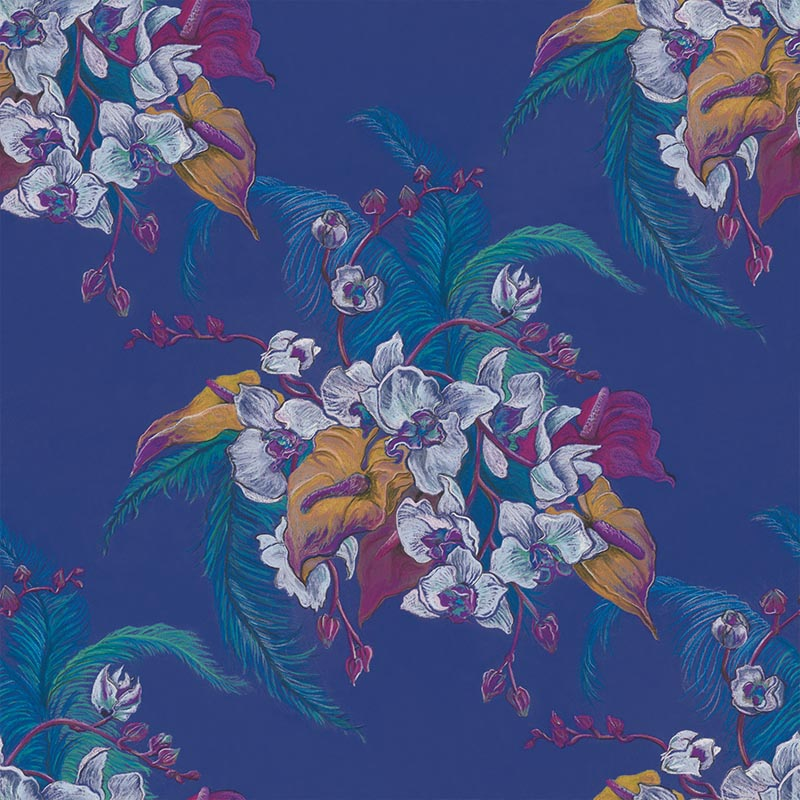 Eileen Deep Purple by Robin Sprong at SARZA. Botanical, Danica Andler, Robin Sprong, Wallpaper